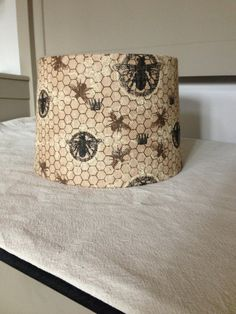 Burlap lamp shade vintage wrapped in bee print by WellNestedDesign