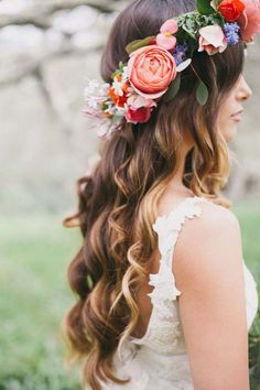 diy wedding hairstyle with flower crown