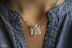 Quartz Crystal Points Wrapped with Pearls in Oxidized Sterling Silver Necklace by ATELIERGabyMarcos, $55.00