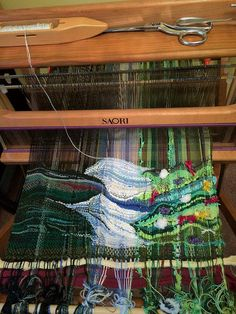 I am organizing and participating in a weave-a-long where each weaver chooses a favourite painting to base their colour choices and possibly the mood of the weaving on. I specifically asked Evelyn. Weaving Textiles, Weaving Art, Weaving Patterns, Tapestry Weaving, Loom Weaving, Hand Weaving, Tapestry Fabric, Fabric Art, Art Fil