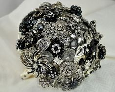 Black & silver brooch wedding bouquet