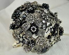 SIlver & Black Jeweled Brooch Bouquet by Blue Petyl  by BluePetyl, $350.00