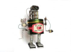 Metal boxes recycled in robots in metals art  with Upcycled Sculpture Robots Recycled Metal DIY Art