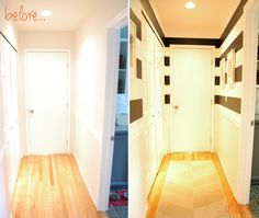 before & After striped hallway & how to