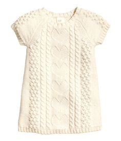 Natural white pattern-knit dress, would look cute with tights | H&M US