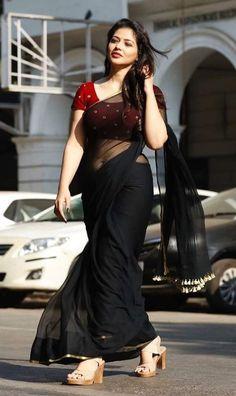 Priyanka Jawalkar Hot In Black Saree Photos - Chai SamoSa Indian Bollywood Actress, Beautiful Bollywood Actress, Most Beautiful Indian Actress, Indian Photoshoot, Saree Photoshoot, Indian Girl Bikini, Indian Girls Images, Black Saree, Stylish Sarees
