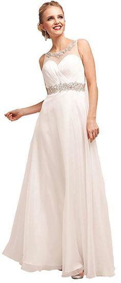 01e37a7ff8657 Amazon.com: Meier Women's Offwhite Halter Wedding Prom Evening Party Dress:  Clothing