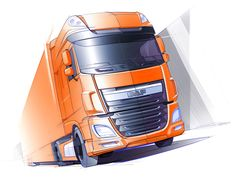 An exclusive design story behind the XF, the new flagship model of the DAF trucks line-up. Car Design Sketch, Truck Design, Car Sketch, Bike Sketch, Future Trucks, New Trucks, Industrial Design Sketch, Grill Design, Commercial Vehicle