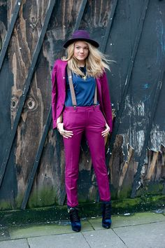 Winter Outfit Idea Glam up a menswear-inspired pantsuit with luscious jewel tones—and a set of suspenders, because why not? Topman Suits, Mens Fashion Week, Fashion Trends, Men's Fashion, London Fashion, Fashion Inspiration, Purple Suits, Suspenders For Women, Passion For Fashion