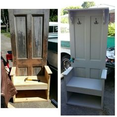 Custom hall tree with bench and storage made from 120+ year old door. Bj Jones original pin.