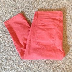 Gap Legging Jeans Pastels and bright colors are returning this Spring. This pair of Gap polka dot coral legging jeans is a perfect addition to your collection! Only worn once! In excellent condition. Open to offers  GAP Jeans Skinny
