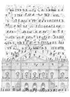 """Puzzle """"Scala di Milano"""". #formiche #puzzle #milano #lascala #teatro #arte #cultura #musica #opera"""