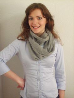 Easy sewing tutorial for how to make an infinity scarf out of a refashioned sweater