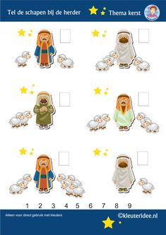Tel de schapen bij de herder, thema Kerst voor kleuters, kleuteridee, Preschool christmas theme, nativity, free printable.