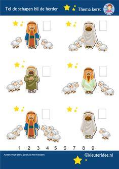 Tel de schapen bij de herder, thema Kerst voor kleuters, kleuteridee, free printable.