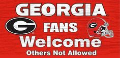 "Georgia Bulldogs Wood Sign - Fans Welcome 12""""x6"""" Z157-7846002847"