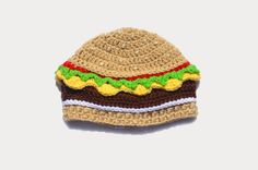 Knit Food Hat, Cheeseburger Hat, Burger Beanie, Mens Beanie, Adult Novelty Hat, Burger Crochet Hat, Toddler Hat, Boys Crochet Beanie, Silly by ToryMakes on Etsy https://www.etsy.com/listing/242219215/knit-food-hat-cheeseburger-hat-burger