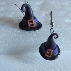 * halloween * boucles d'oreilles châpeau de sorciére