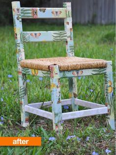 Take a little four-dollar thrift store chair. Add some cut-up bits of colorful paper and that magical elixir known as Modge Podge. Spend a few hours making it all come together.