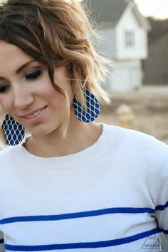 Printed blue and white leather earrings from ONE little MOMMA
