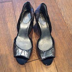 """Cole Haan pumps Silver woven pumps. Heel 2 1/4"""" Cole Haan Shoes"""