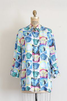 bf6eba7daa8715 vintage Versace blouse    pop art silk blouse    warhol versace heads    by  TrunkofDresses
