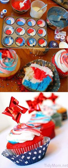 If you are looking for patriotic cupcakes for your next party, these Red White and Blue Cupcakes are sure to spark their attention and earn salutes at any Memorial Day and of July celebrations. Step-by-step directions and recipe at Patriotic Cupcakes, Patriotic Desserts, 4th Of July Desserts, Fourth Of July Food, 4th Of July Celebration, Patriotic Party, 4th Of July Party, Holiday Desserts, Holiday Treats
