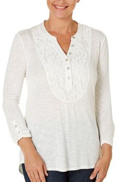 NY-Collection-Womens-Lace-Placket-Knit-Henley-Top-Medium-Ivory-white-0