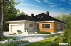 Bungalow with attic to adapt, basement and a garage for two cars – Amazing Architecture Magazine Beautiful House Plans, Beautiful Homes, Style At Home, Architecture Design, Amazing Architecture, One Storey House, Basement House Plans, House Map, Hill House