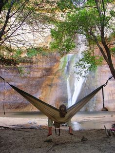 Hammock camping at a waterfall