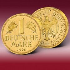 Original 1 DM-Münze (Deutsche Mark) vergoldet