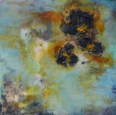 Encaustics by Emma Ashby, Titled Fallen Flower, 12 x 12. She creates some amazing pieces out of bees wax.