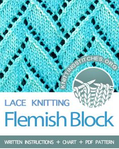 Flemish Block Lace on a background of sockinette stitch. Flemish Block Lace is a lovely knitting stitch that is not difficult to accomplish. It makes a beautiful shawl or scarf. Lace Knitting Stitches, Loom Knitting, Knitting Patterns Free, Knit Patterns, Free Knitting, Stitch Patterns, Yarn Inspiration, Knitted Bags, Knitting Projects