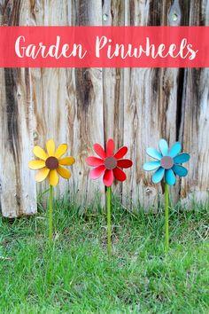 Colorful Wooden Garden Pinwheels