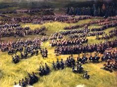 French cavalry charge, Waterloo, by History Live, section of large diorama containing around 20,000 figures