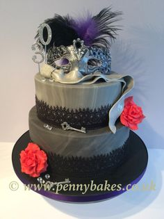 Marbled fondant, hand made fondant mask, and sugar roses with cake lace. Chocolate cake, chocolate buttercream, top vanilla with wild strawberry jam and buttercream. Cake Icing, Cupcake Cakes, Cupcakes, Chocolate Buttercream, Chocolate Cake, Burlesque Cake, Gothic Cake, Masquerade Cakes, Surprise 30th Birthday