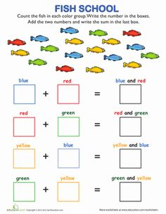 Back to School First Grade Addition Worksheets: Fish School Addition