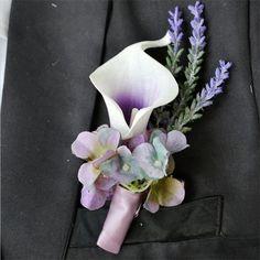 4pieces/lot Purple calla lily flower Corsage Groom groomsman Wedding party Man suit decoration men Boutonniere Wedding Flower