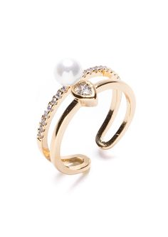 Romance Crowned Pearl Ring #ring #accessories #fashion #potd #gold - 14,90 € @happinessboutique.com