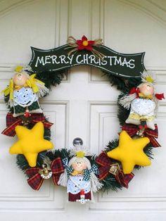 Decoração de Natal para porta, feito de tecido. R$ 89,00