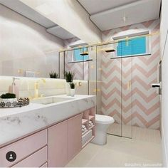 Marbled is combined with Millennial Pink in this ultra feminine bathroom to create a sanctuary Dream Bathrooms, Dream Rooms, Hotel Bathrooms, Feminine Bathroom, Cute Room Decor, Girl Bedroom Designs, Bathroom Kids, Bathroom Interior Design, House Rooms