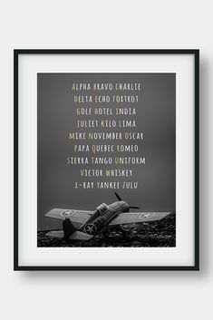 OFF NATO Phonetic Alphabet Aviation Art by aenaondesign Airplane Wall Art, Airplane Decor, Nato Phonetic Alphabet, Aviation Decor, Bunny Nursery, Pilot Gifts, Camera Art, Affordable Wall Art, Bible Verse Art