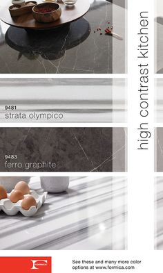 The new neutrals of the Formica® 180fx® Collection. 9481 Strata Olympico and 9483 Ferro Grafite