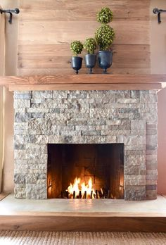 AirStone Fireplace Makeover {From Ugly to Incredible!} AirStone Fireplace Makeover {From Ugly to Incredible!} AirStone fireplace makeover tutorial with amazing before and after photos Airstone Fireplace, Fireplace Redo, Small Fireplace, Farmhouse Fireplace, Fireplace Remodel, Living Room With Fireplace, Fireplace Surrounds, Fireplace Design, Fireplace Ideas