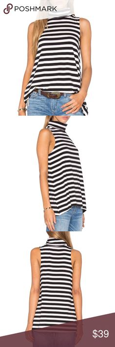 Striped top Black and white striped turtleneck top • cotton blend • jersey knit fabric cupcakes and cashmere Tops