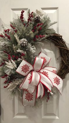Winter Grapevine Wreath, Christmas Wreath, Winter Wreath : If you want a wreath to take you from Christmas through winter, this is the perfect wreath. Simple, elegant and ready to welcome your guests this winter. Christmas Swags, Plaid Christmas, Holiday Wreaths, Rustic Christmas, Christmas Crafts, Christmas Decorations, Winter Christmas, Christmas Sleighs, Primitive Christmas