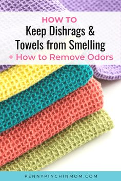Even with regular washing kitchen dishcloths can develop an odor. But, there is a simple hack you can use to help you remove those smells! This is a simple way to save money by cleaning rather than replacing. Kitchen Hand Towels, Dish Towels, Smelly Towels, Simple Hack, Dawn Dish Soap, Natural Cleaners, Clean Microfiber, How To Make Clothes, Cleaners Homemade