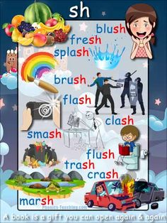 words ending in sh - FREE Printable Phonics Poster - Ideal phonics practice for older kids. Will make your phonics instruction more memorable Phonics Flashcards, Phonics Words, Phonics Worksheets, Phonics Activities, Phonics Blends, Letter Games, Art Drawings For Kids, Word Walls, Learn English Words