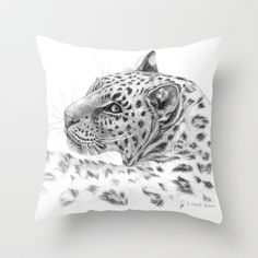Leopard - Glance back Throw Pillow by S-Schukina - $20.00