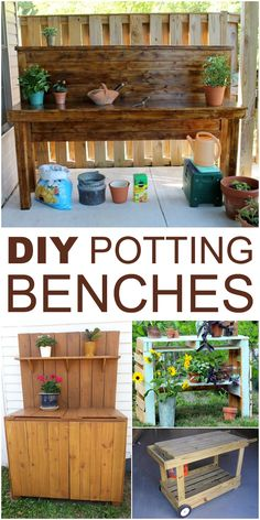 Need a place for gardening stuff? Make a Potting Bench and organize all tools!
